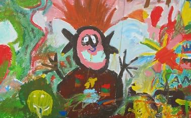 Det store maleri kan nu ses i det tomme butikslokale på Torvegade 2, til og med d. 6 september