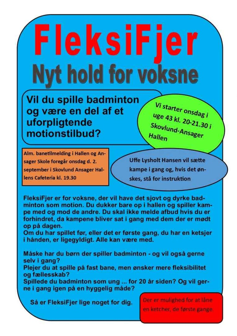 Opstart onsdag i uge 43 kl. 20-21.30 i Skovlund-Ansager hallen.