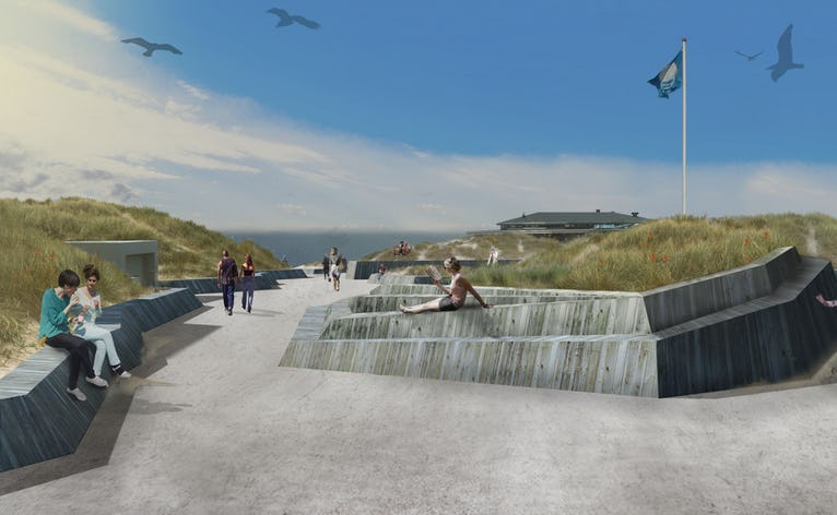 Illustration af den kommende strandplads ved Henne Strand