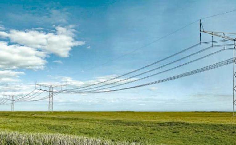 Visualisering af ny 400 kV højspændingsmast.